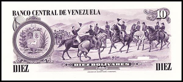 VENEZUELA South America 10 Bolivares UNC 1980 p-57 horse