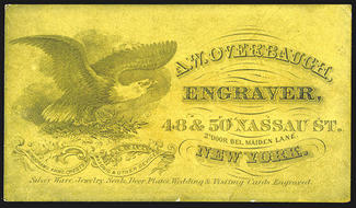 aw overbaugh engraver business card ny eagle at left intaglio nice dirty estimate