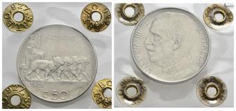c34bca6fd2 Vittorio Emanuele III (1900-1943) - 50 Centesimi - 1925 R - NI Pag. 807;  Mont. 244 Periziata Rocco di T. SPL-FDC