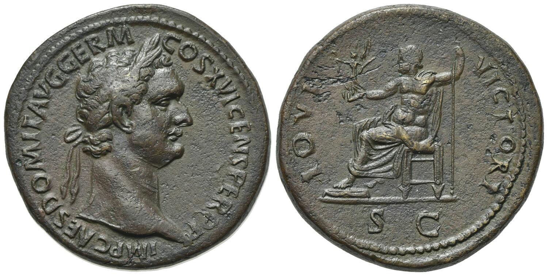 Sestercio de Domiciano. IOVI VICTORI - S C. Júpiter sedente a izq. Roma. Image01198