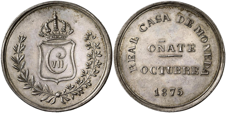 Medalla Carlos VII. Módulo 5 Pesetas 1875. Oñate. Plata Image00427