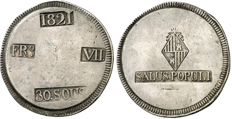 30 Sous 1821. Fernando VII. Palma de Mallorca. El Duro de la Epidemia. Image00581