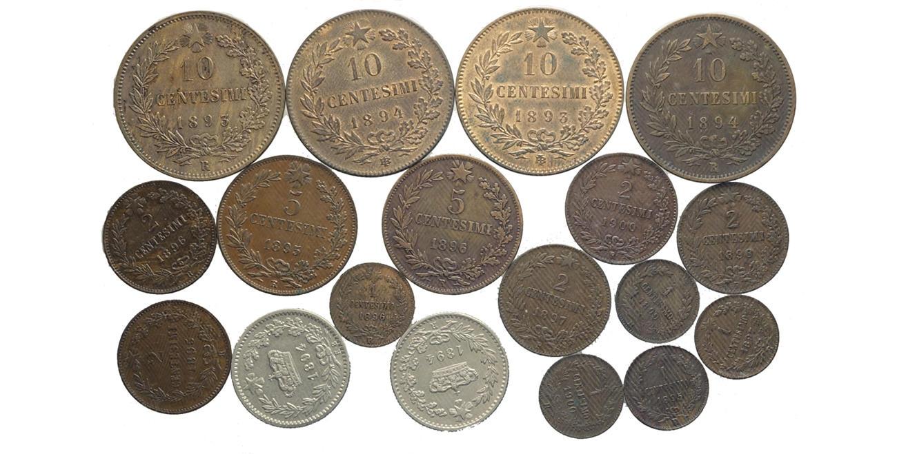3427ff0304 Regno d'Italia, Umberto I, Lotto di 18 monete, segnaliamo: 10 Cent 1893 BI  q.FDC, 10 Cent 1894 BI q.FDC, 5 Cent 1895.