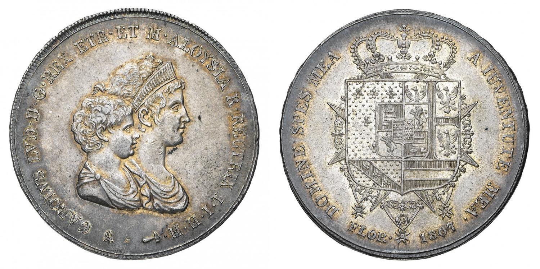 5060d16afb Regno d'Etruria Carlo Ludovico di Borbone (1803-1807) - Dena 1807 - Zecca:  Firenze - Diritto: busti accollati del Re a.