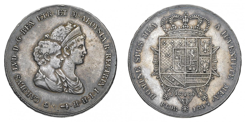 bed4e10678 Regno d'Etruria Carlo Ludovico di Borbone (1803-1807) - Dena 1807 - Zecca:  Firenze - Diritto: busti accollati del Re e.
