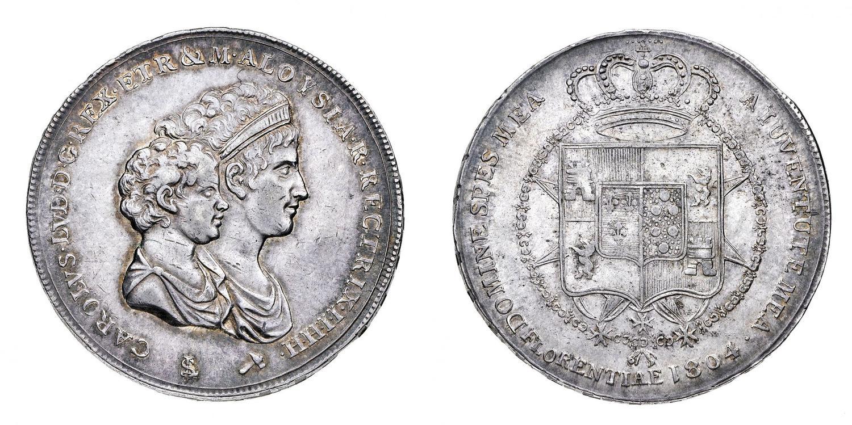 d363feed01 Regno d'Etruria Carlo Ludovico di Borbone (1803-1807) - Mezza Dena 1804 -  Zecca: Firenze - Diritto: busti accollati del.