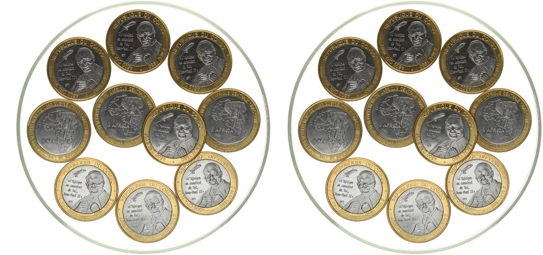 bimetal unusual coinage IVORY COAST lot 5x 6000 CFA 2003 President
