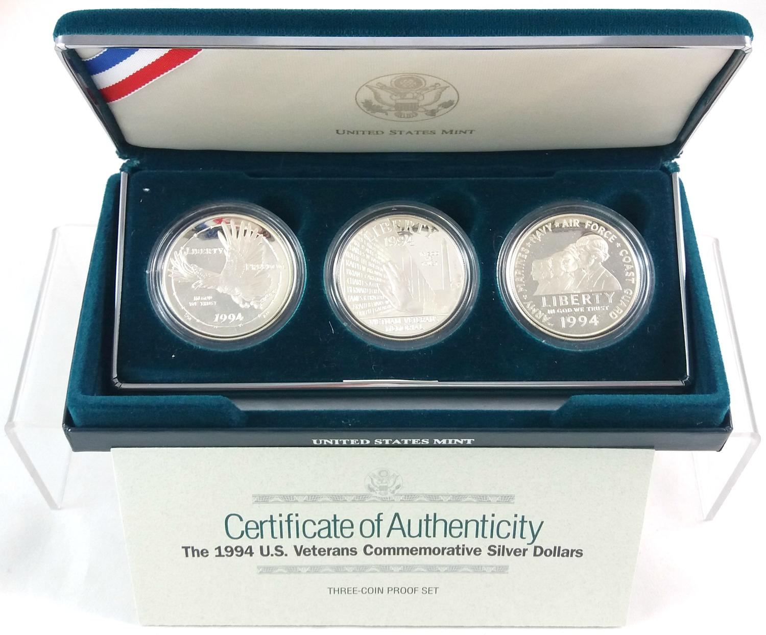 10 Different Commemorative Proof Silver Dollars Lot of Original Boxes /& COAs