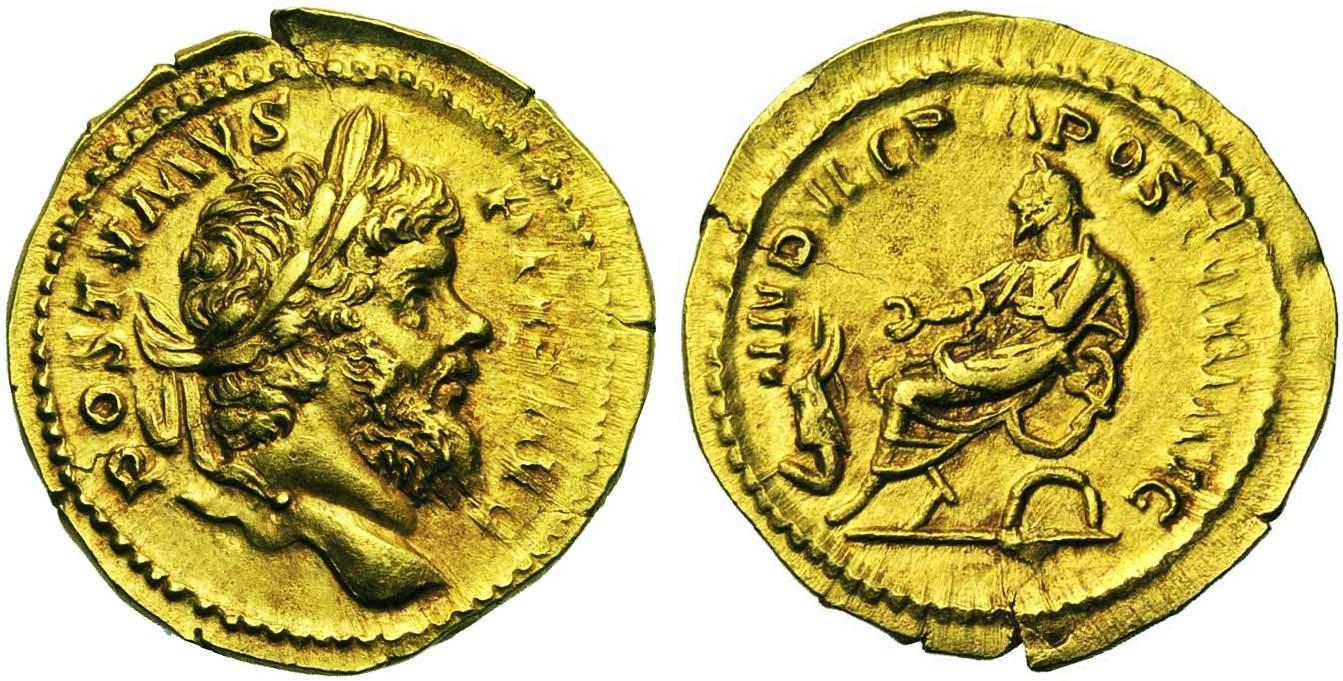 Aureus d'or (263-264) de Postumus, empereur des Gaules entre 260 et 269