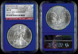 2017 Silver American Eagle Ms 70 Ngc Er Green Holder