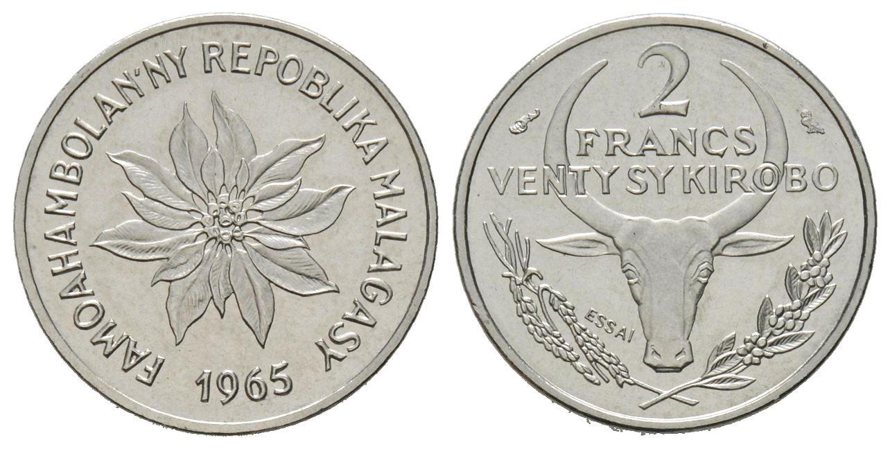 MADAGASCAR   2 francs  1965 etat