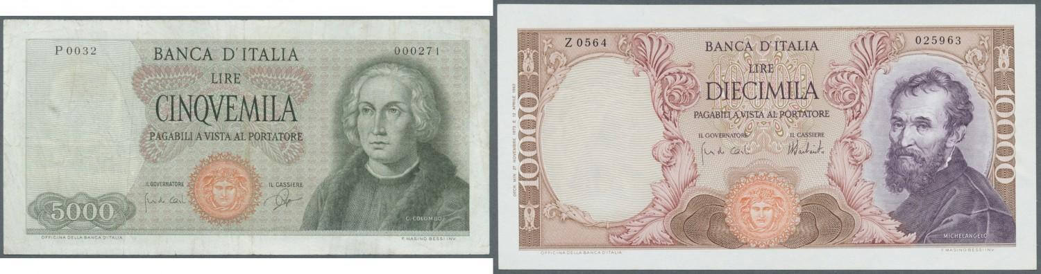 1dccf2f6f7 Set of 2 notes containing 5000 Lire 1964 P. 98a (F) and 10.000 Lire 1973 P.  97f (aUNC), nice set. (2 pcs)