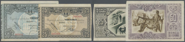 UNC 5 PCS LOT P-93 SPAIN ESPANA 50 CENTIMOS 1937 AU