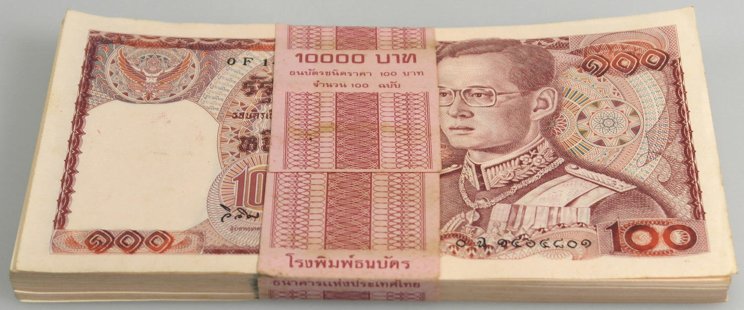 THAILAND 100 BAHT ND 1955 P 78 AUNC ABOUT UNC