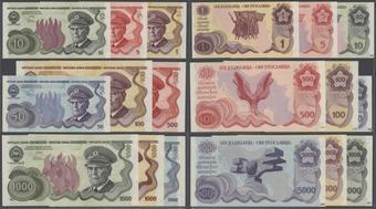 AA YUGOSLAVIA 5000 5,000 DINARA 1993 UNC 5 PCS  LOT P-128
