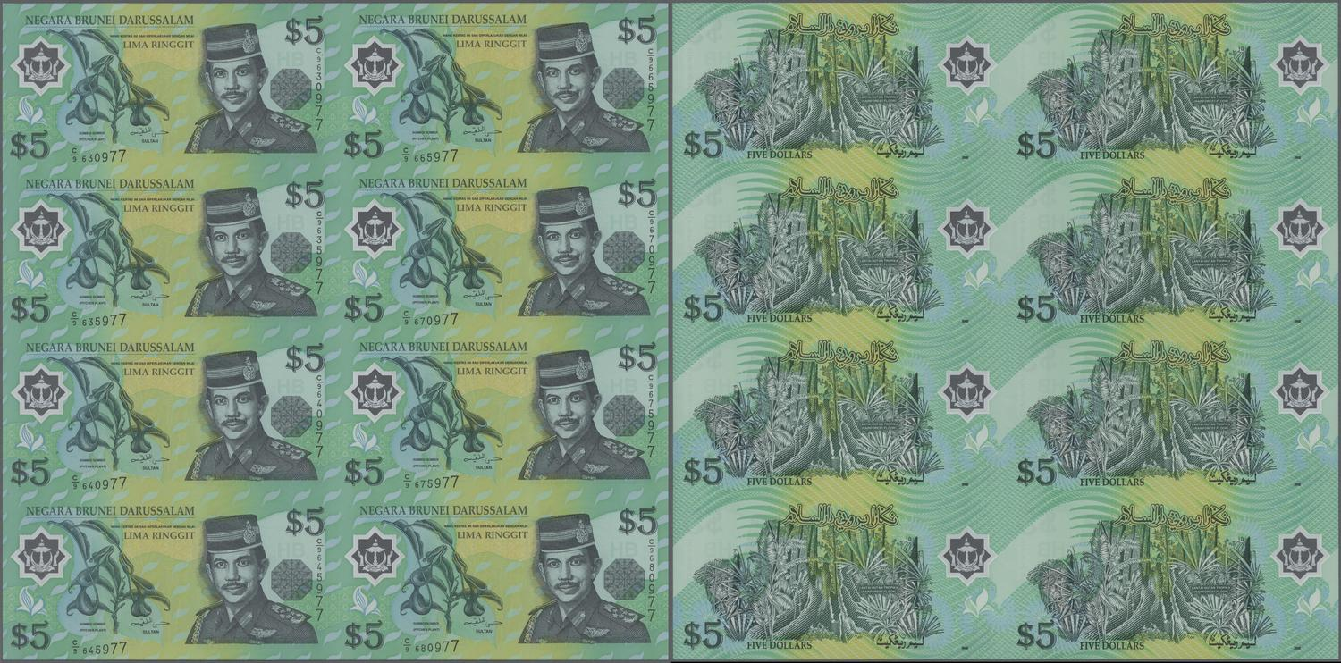 COOK ISLANDS 50 DOLLARS 1992 UNC 5 PCS CONSECUTIVE LOT WITH SOME STAIN P-10