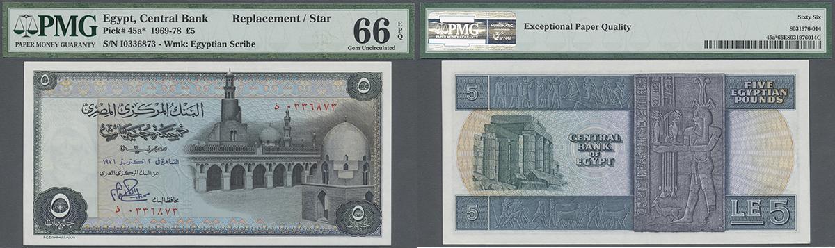 1969//78 EGYPT RARE Banknote 10 Pounds GEM UNC