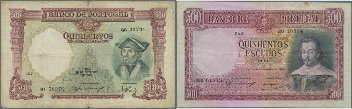 11 Issue 1944 /& 1952-2 Banknotes 2x 500 Escudos Portugal