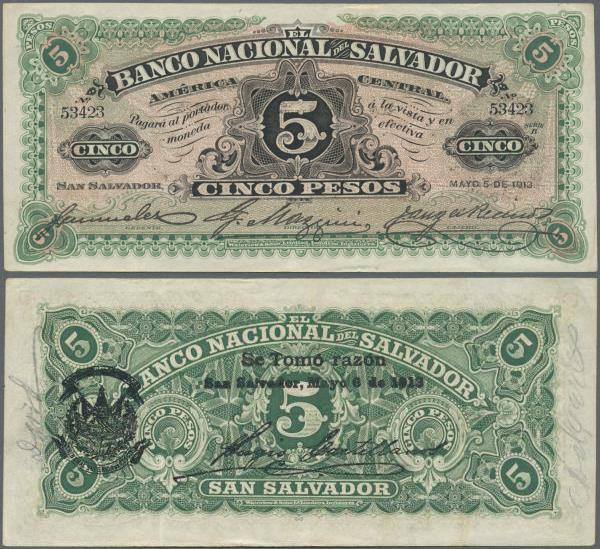 BANCO NACIONAL DEL SALVADOR 5 PESOS SEP-18-1908  PRINTED BY WATERLOW AND SONS