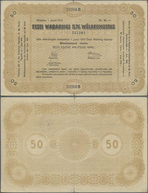 Europa Estland Eesti 5 Marka Gestempelt Von 1920