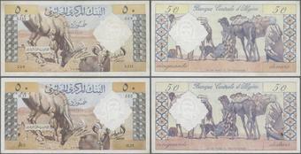 HUGE NOTE. aUNC P 125 ALGERIA 100 DINARS 1964 XF