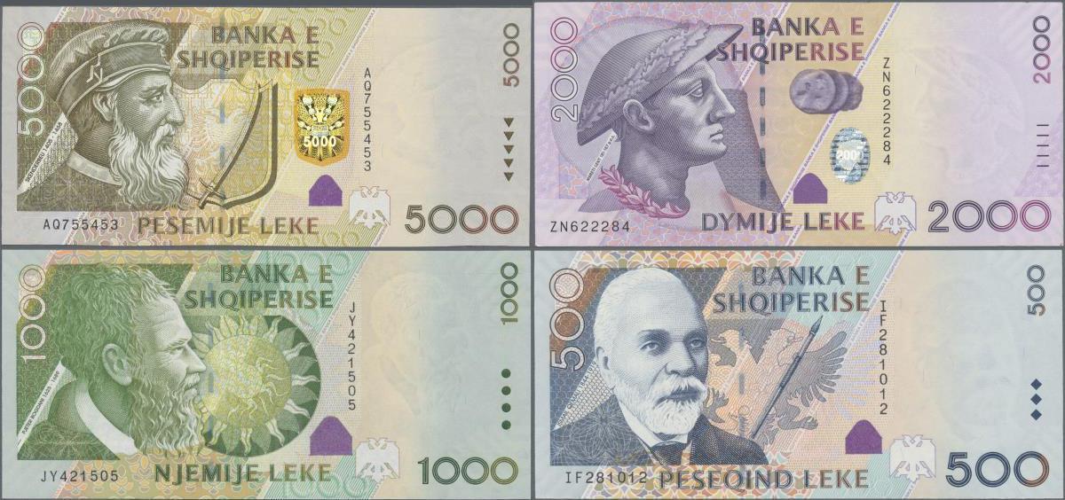 Full Set Albania Paper Money 2000 1000 500 UNC Banknotes: 200 5000 leke