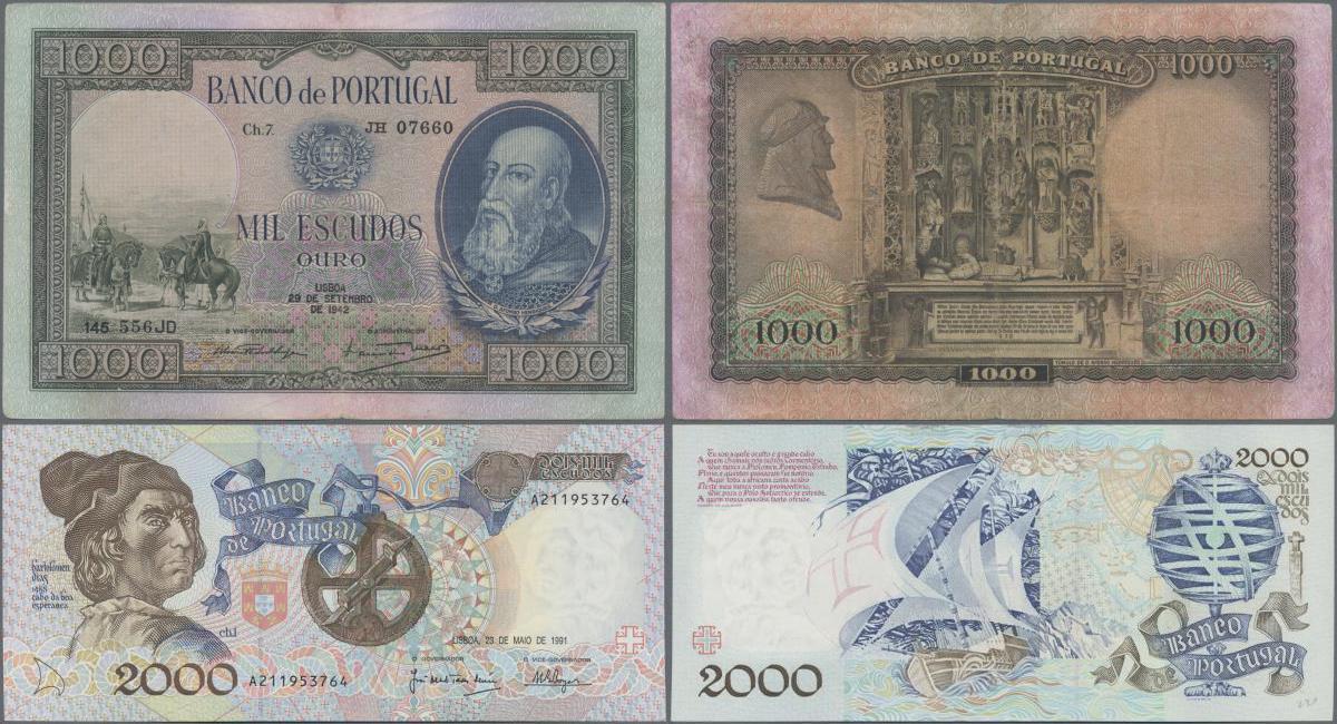 P 118 LOT 2 PCS  Uncirculated Banknotes MOZAMBIQUE 500 ESCUDOS 1967