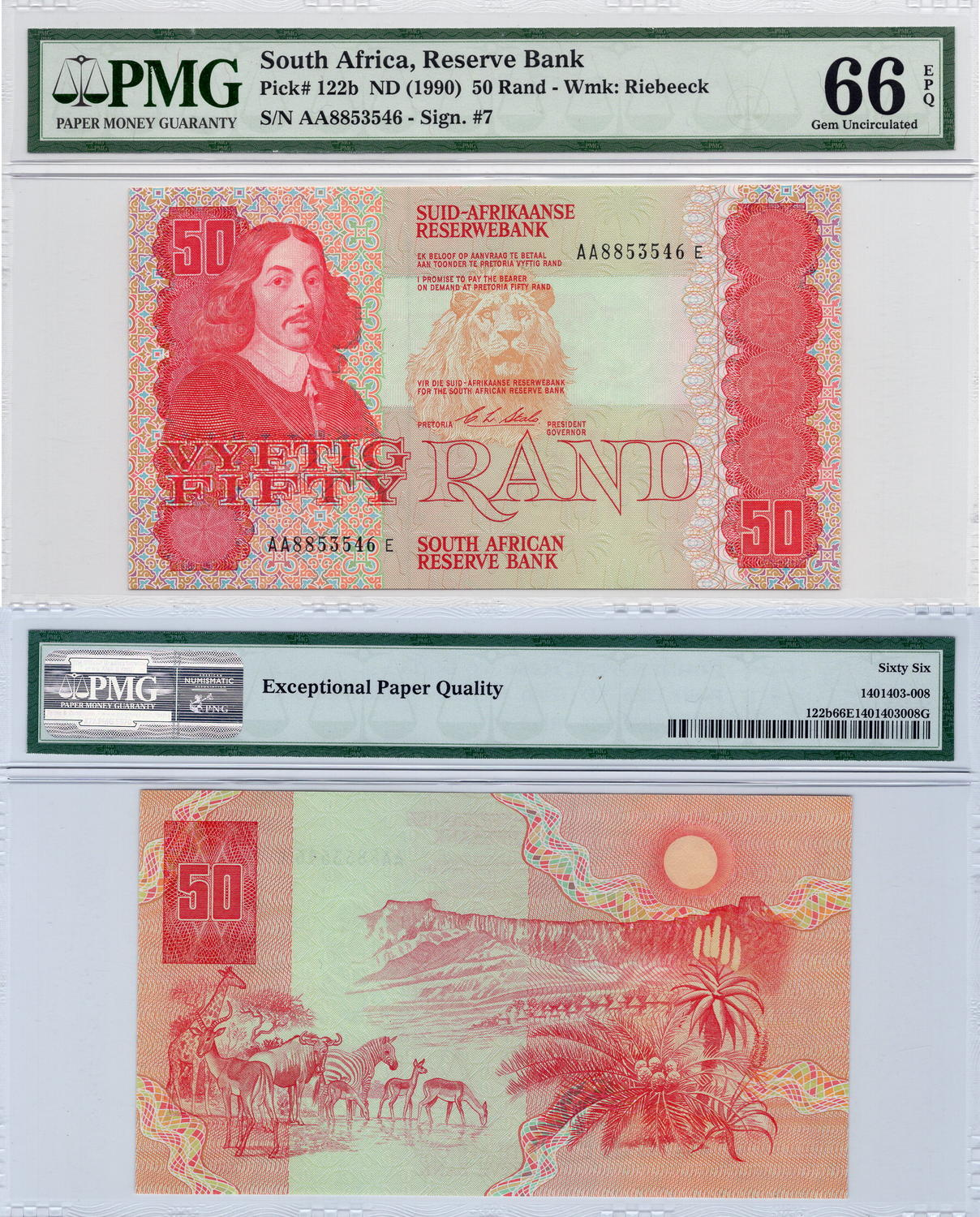 South Africa 50 Rand 1990 Unc Pmg 66 P122b Serial Number Aa8853546e First Prefix 75