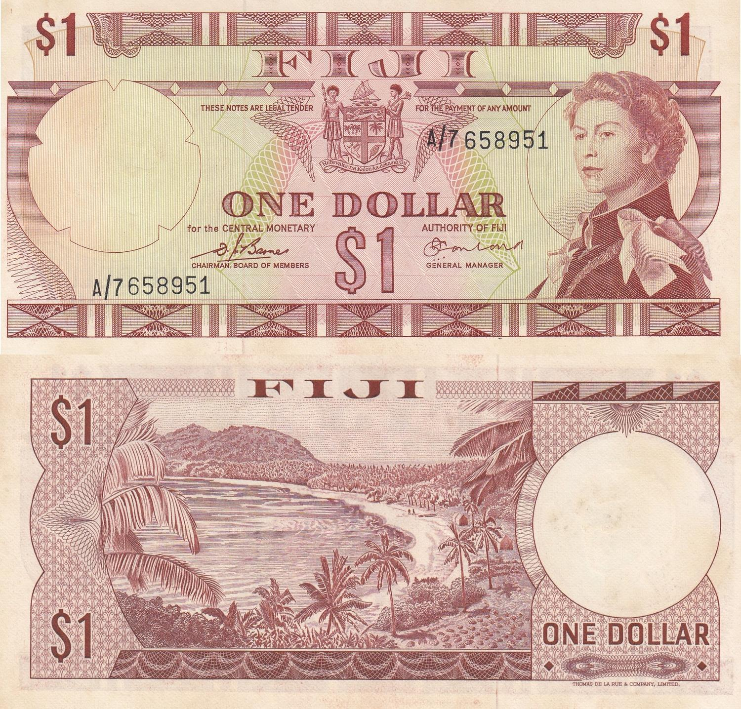 1 Dollar From Fiji Unc South Pacific Australia & Oceania