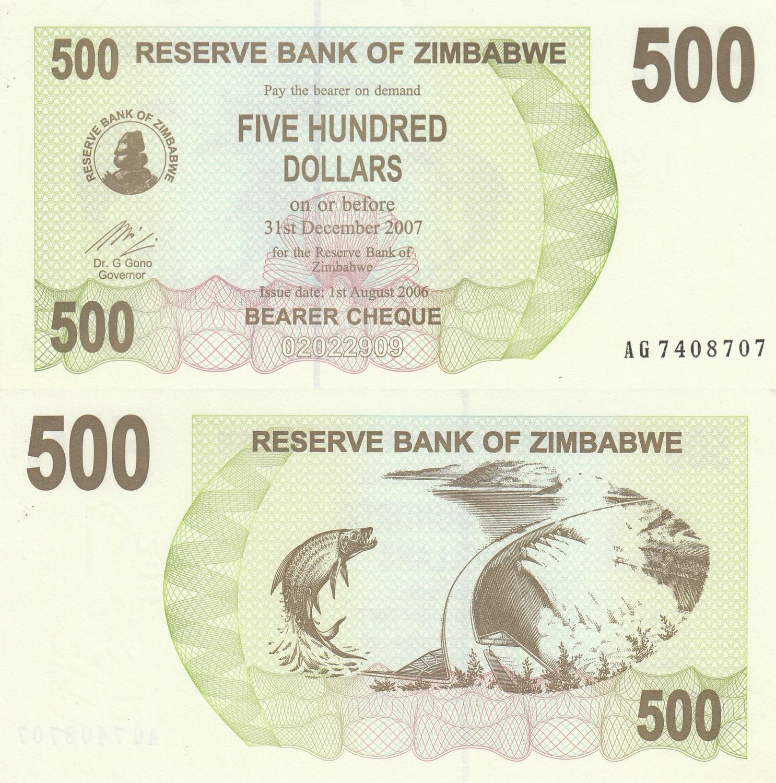 CONSECUTIVE 5 PCS LOT P-11 ZIMBABWE 500 DOLLARS 2004 UNC-