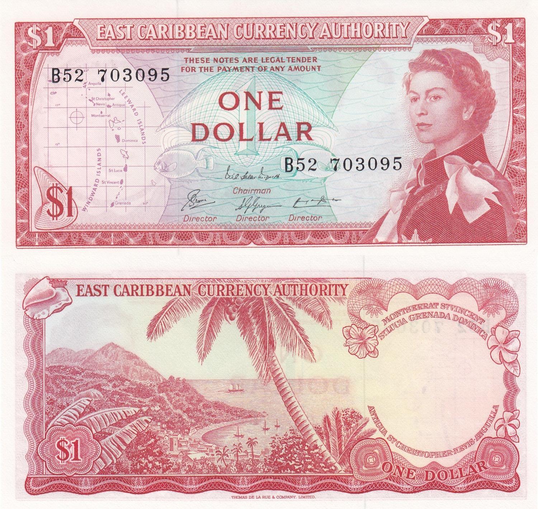 UNC QE II Eastern Caribbean Banknote P13e-1 Dollar Sig 8