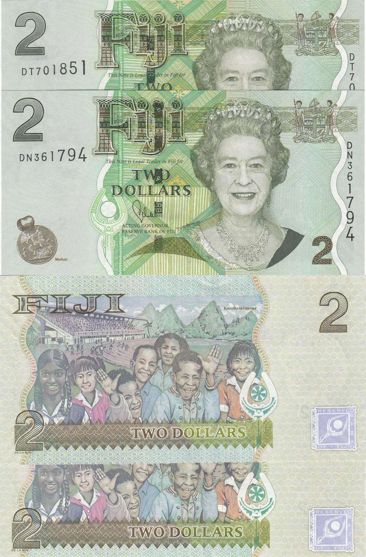 UNC P-109b 2012 2011 Fiji 2 Dollars