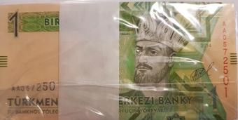 Lot 5 PCS UNC P-18 banknotes 2005 Turkmenistan 100 Manat