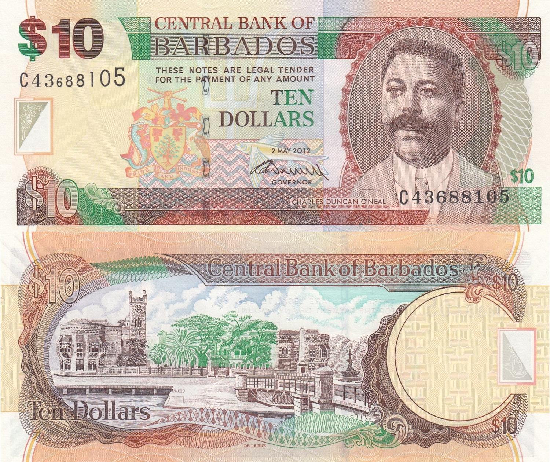 2013 P-74 Unc. Barbados 5 Dollars
