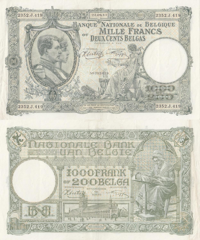 Belgium Banknote 10 Francs or 2 Belgas 1943 XF
