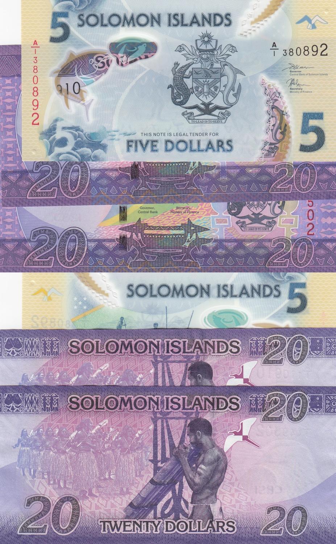 ND 1997 P-19 Shark Alligator Unc Solomon Islands 5 Dollars