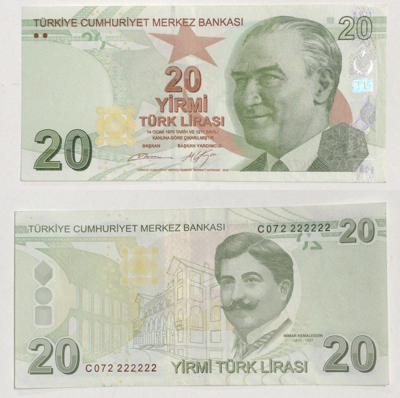 TURKEY 20 LIRA 2009 2017 UNC CONSECUTIVE 5 PCS LOT P-224c NEW SIGN PREFIX C