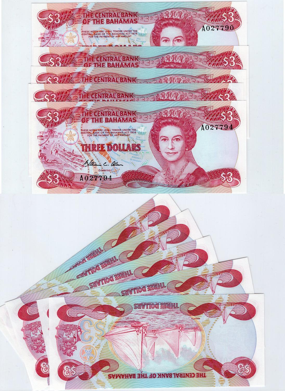 Bahamas 3 Dollars 1984 Unc P44a Fİve I151 Banknotes Queen Elizabeth Ii Bankonte Serial Number A 027790 91