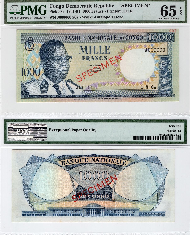 Congo 1000 Francs 1961 69 Unc P8s Specİmen Pmg 65 Serial Number J 000000 207 Estimate 225 275 Usd