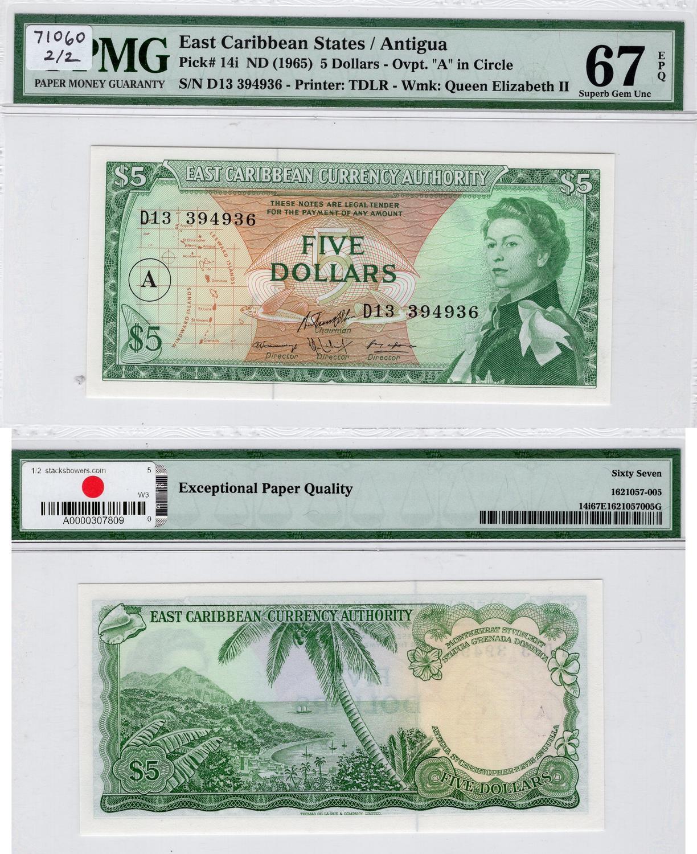 Karibik Eastern Carribean 1 Dollar Nd 1965 Pick # 13g *ef Buy One Give One