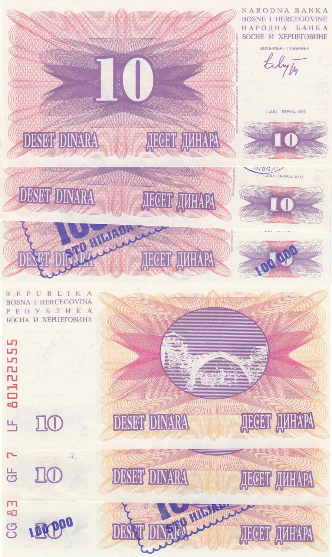 BOSNIA 10 DINARA 1992 UNC  P.10