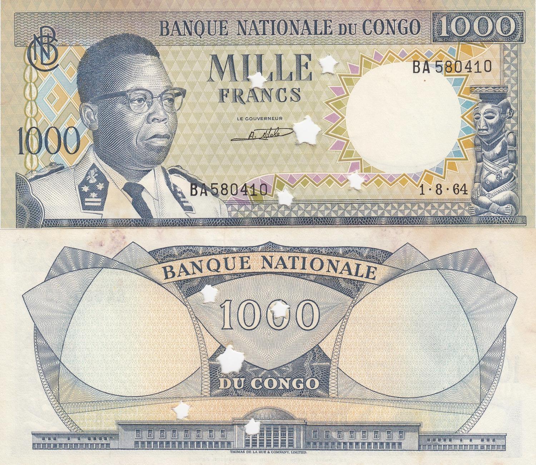Democratic Republic of the Congo 1000 FRANCS 1964 Unc Banknote Cancelled