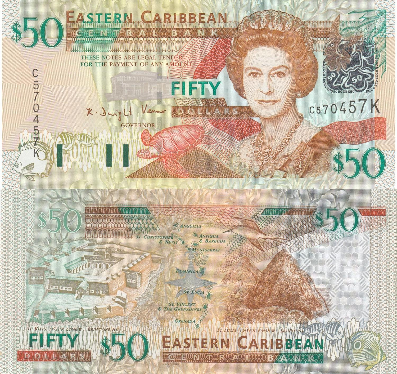 Eastern Caribbean Banknote-St.Vincent /& The Grenadines P43v 10 Dollars QE II UNC