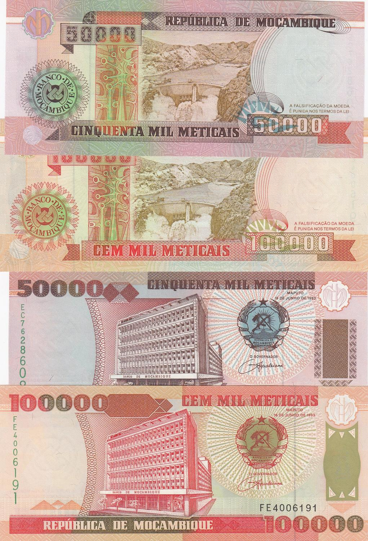 Mozambique 50000 Meticais 1993 P-138 Banknotes UNC