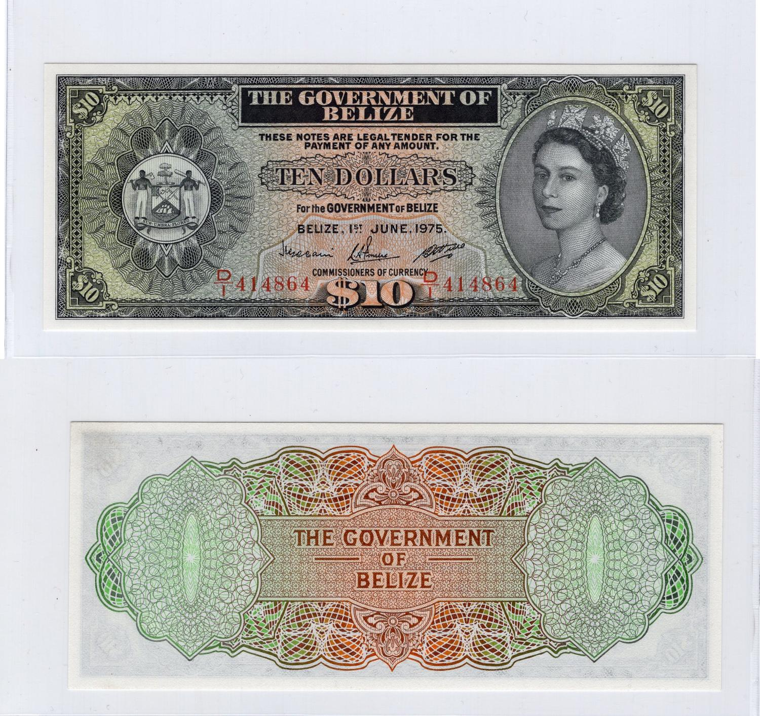 Belize 10 Dollars 1975 Unc P36b Serial Number D 1 414864 Queen Elizabeth Ii Portrait 1000 1500 Usd