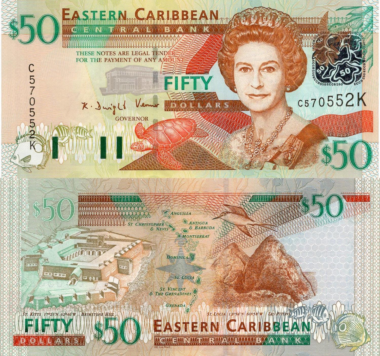Unc P.50 East Caribbean States 50 Dollars 2008