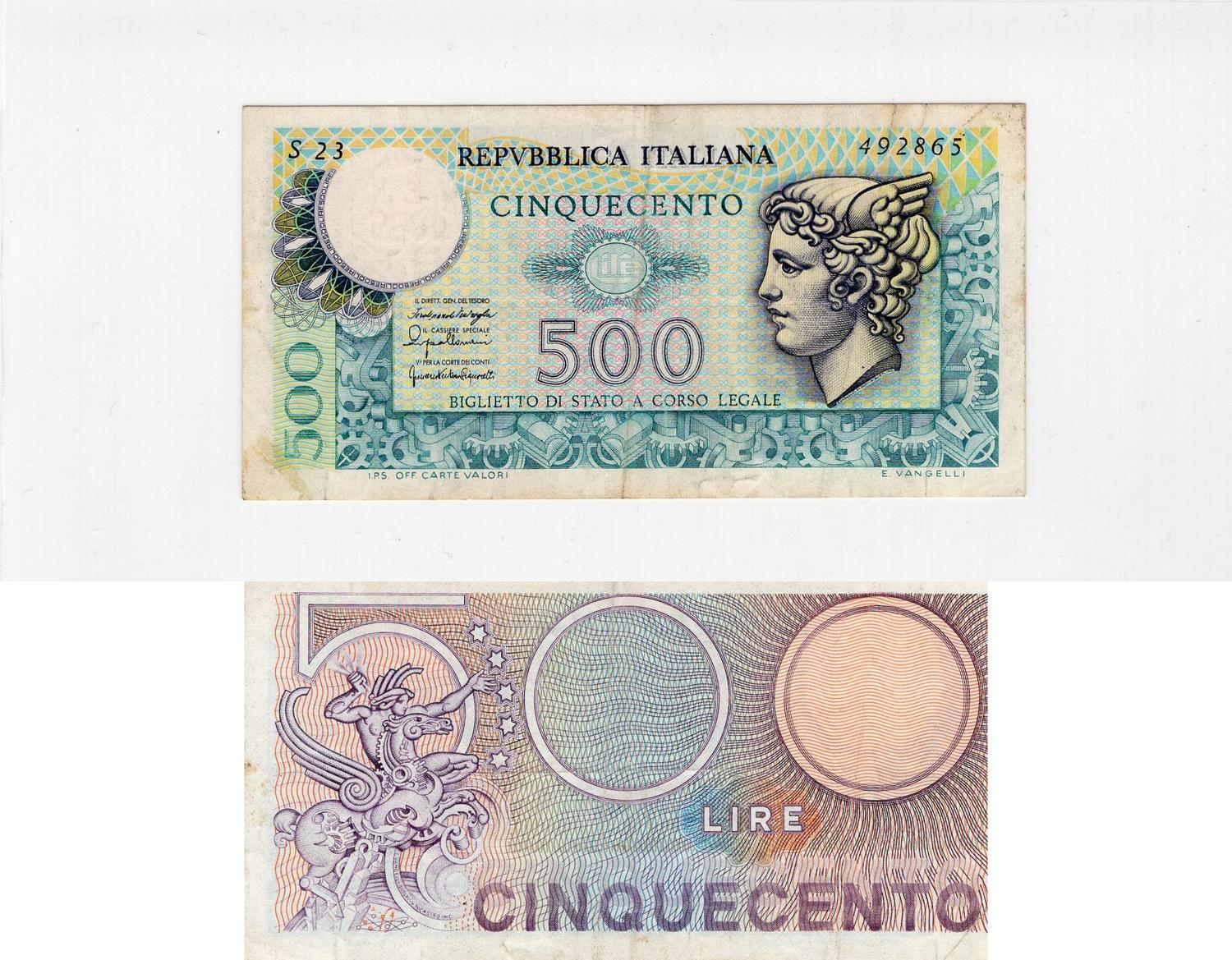 Italy 500 Lire 1976 Xf P95 Serial Number S23 492865 5 10 Usd