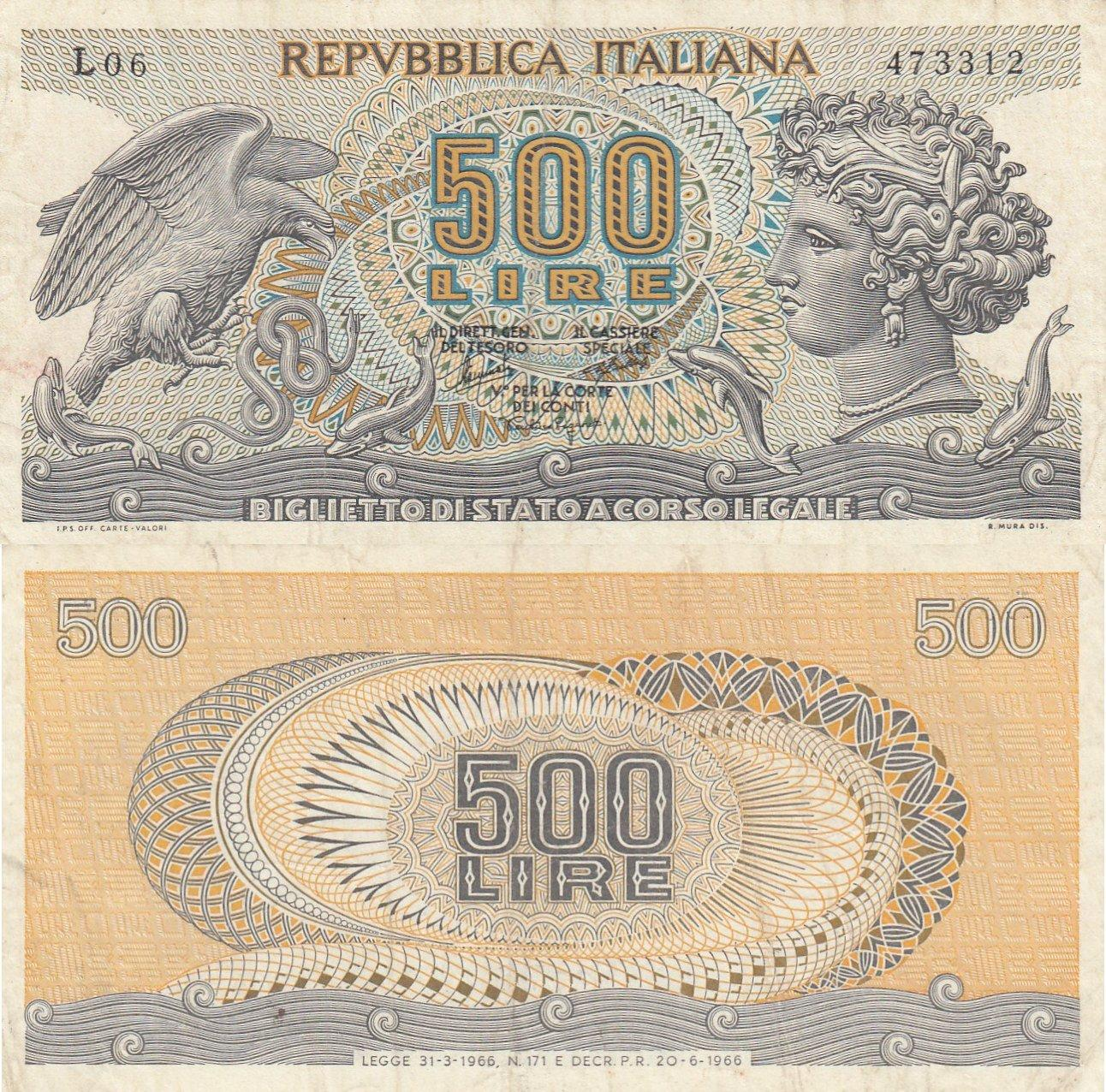 Italy 500 Lire 1976 Xf P95 Serial Number S23 492865 5 10
