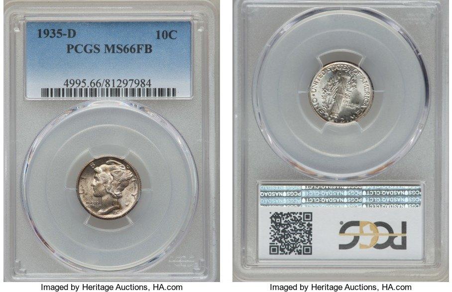 1935-S Mercury Silver Dime MS65 PCGS