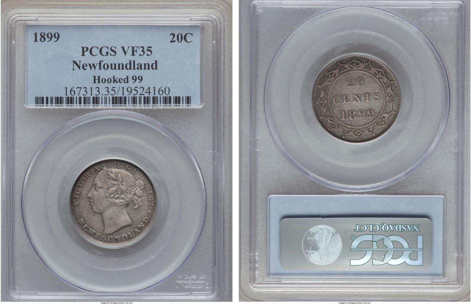 NumisBids Heritage World Coin Auctions Monthly Auction 271718 Lot 33262 Canada Newfoundland Victoria Hooked 99 20 Cents 1899 VF35
